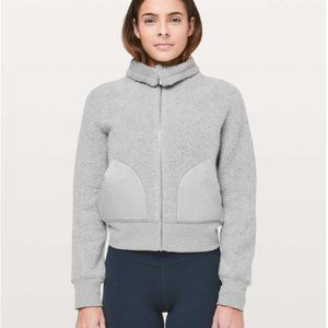 Lululemon So Sherpa Jacket Heather Silver Spoon M